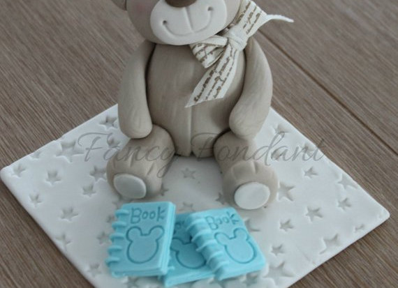 Fondant Teddy Bear with Books Cake Topper