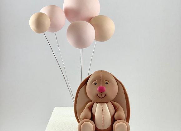 Fondant Rabbit with Balloons Cake topper Decoration