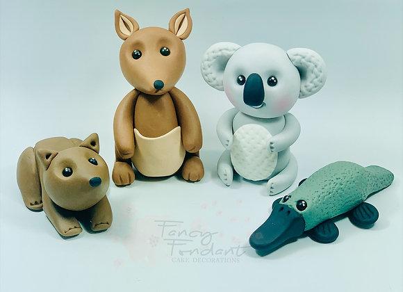 Fondant Koala, Wombat, Kangaroo, Platypus Cake topper Decoration
