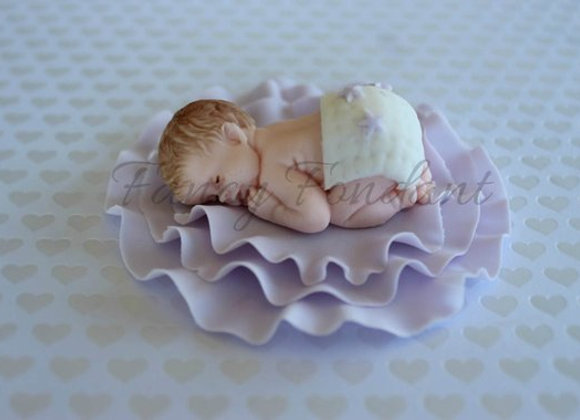 Fondant Baby Christening Baby Shower Cake topper Decoration