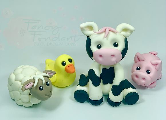 Fondant Farm Animals Cake Topper Decoration