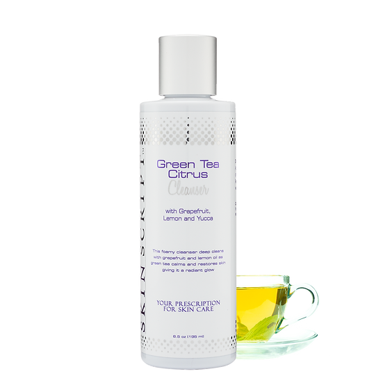Skin Script Green Tea Citrus Cleanser, the best facial cleanser product in a skin care routine.