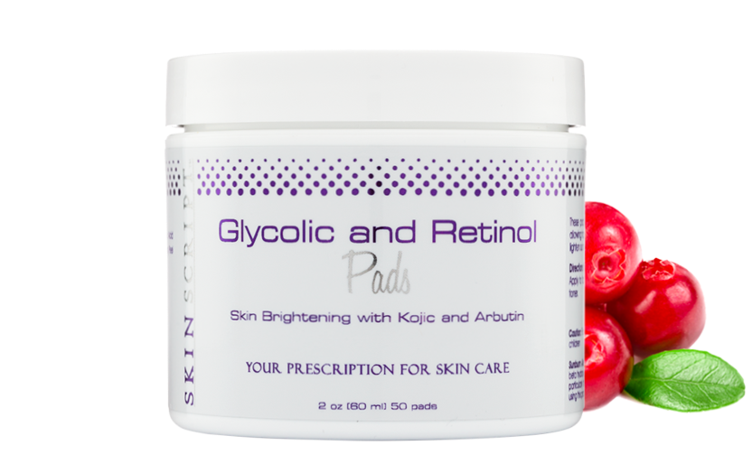 Skin Script Glycolic Retinol Pads + Kojic Acid +Arbutin, the best skincare product for lightening and smoothing wrinkles.