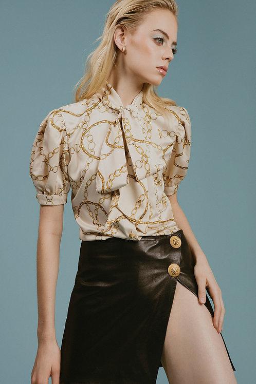Asymmetrical Leather  Mini Skirt