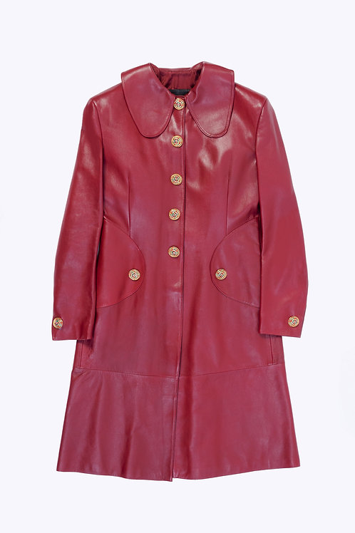 Leather Coat with Jewelry Buttons