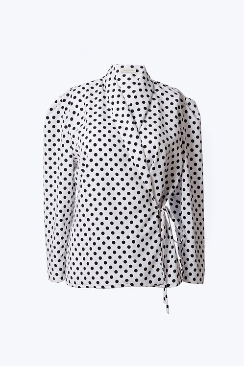 Puffed Sleeved Polka-dot Blouse