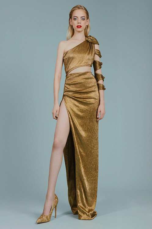Draped Gold Maxi Skirt