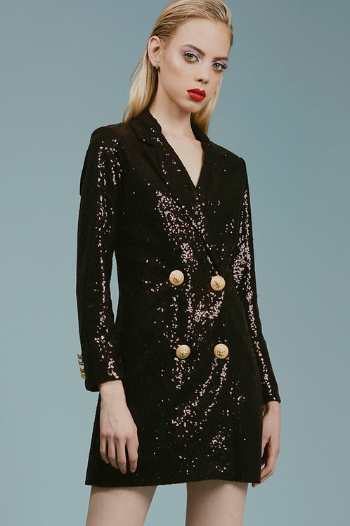 Sequin Double-breasted Dress