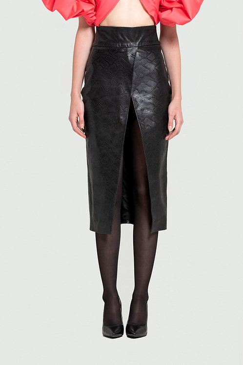 Cut-out Snake Effect Midi Leather Skirt