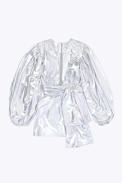 Silver Balloon Sleeved Mini Dress