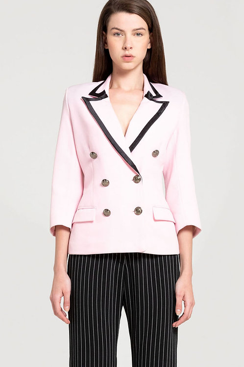 Satin-trimmed Signature Double-breasted Jacket