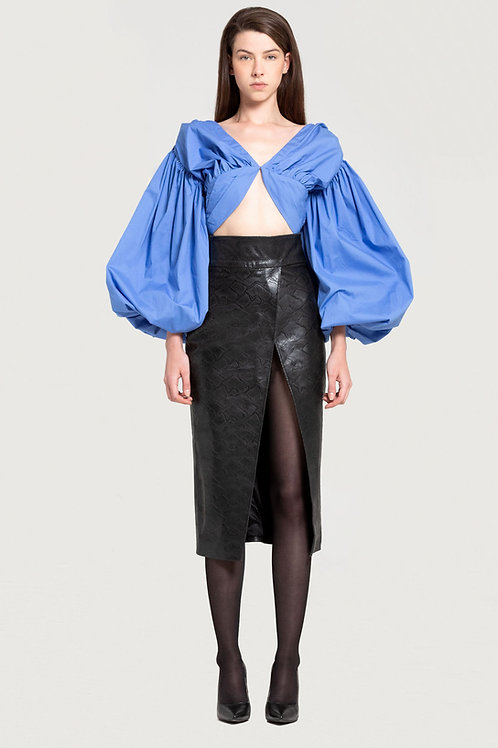 Balloon Sleeves Signature Blouse in Blue