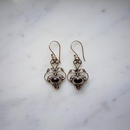 (Style 4) Garnet Cabochon Drop Earrings in Sterling Silver