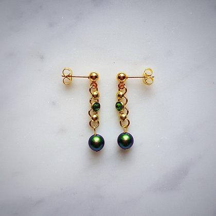Crystal (Fern Green) and Pearl Drop (Scarabaeus Green) Stud Earrings in Gold