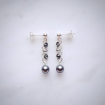 Crystals (Black Diamond and Crystal) and Pearl Drop (Light Grey) Stud Earrings in Silver