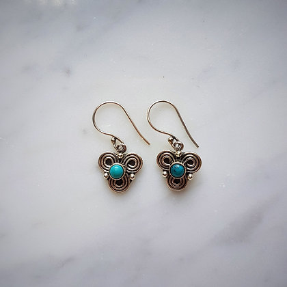 (Style 1) Turquoise Drop Earrings in Sterling Silver