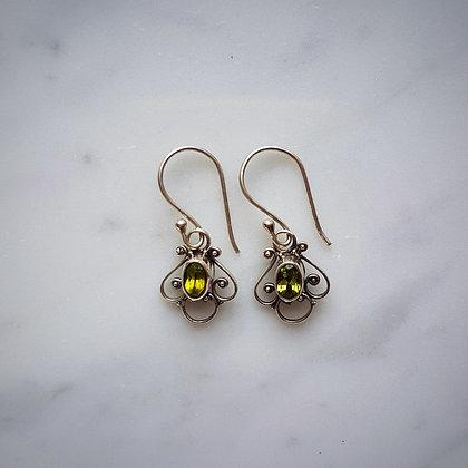 (Style 5) Peridot Facet Drop Earrings in Sterling Silver