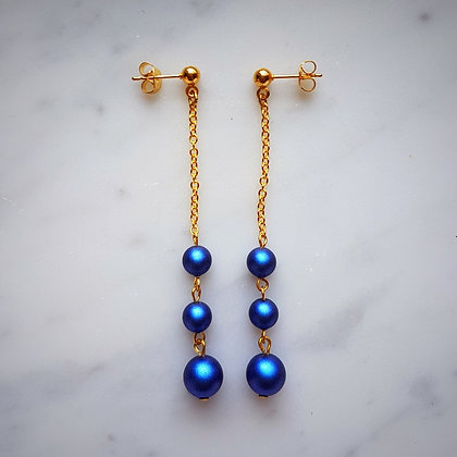 Pearls Drop (with gold chain) Stud Earrings in Iridescent Dark Blue