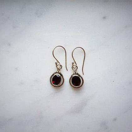 (Style 15) Garnet Facet Drop Earrings in Sterling Silver