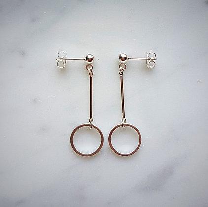 Drop Hoop Stud Earrings in Silver
