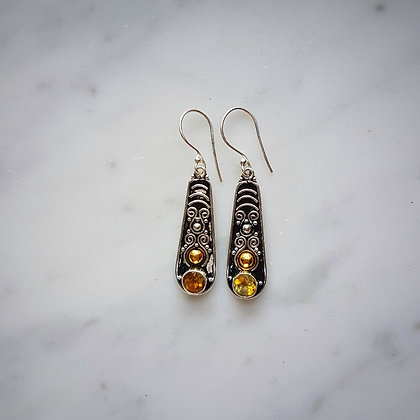 (Style 14) Citrine Facet Drop Earrings in Sterling Silver