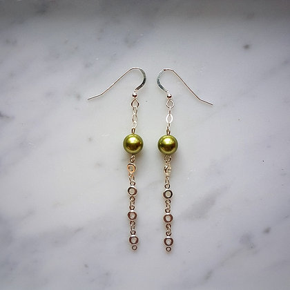Pearl Drop (with silver chain) Hook Earrings in Green