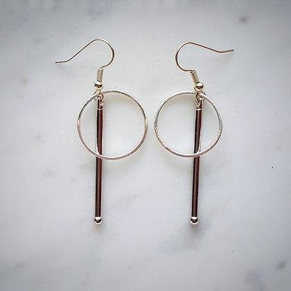 Hoop and Bar Hook Earrings in Silver