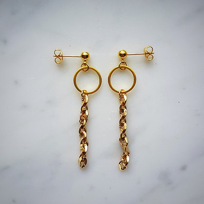 Hoop Stud SEarrings with Chain in Gold