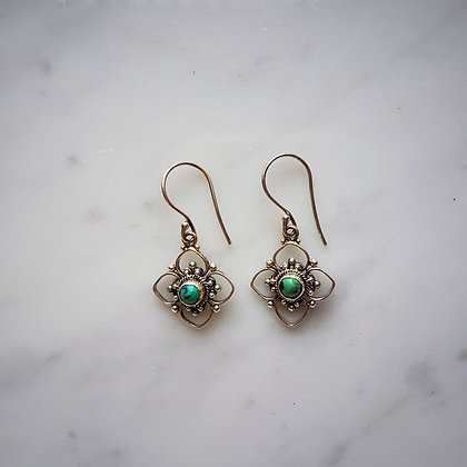 (Style 7) Turquoise Drop Earrings in Sterling Silver