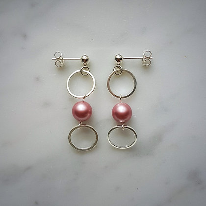 Pearl Drop (Powder Rose) Hoop Stud Earrings in Silver