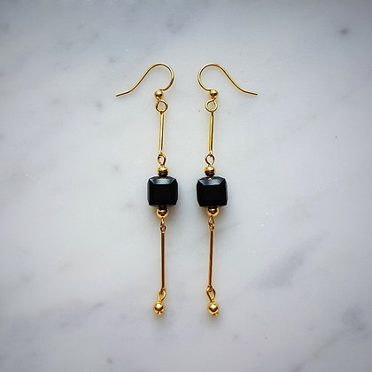 Crystal Cube Drop (with gold chain) Hook Earrings in Jet Black