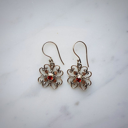 (Style 10) Garnet Facet Drop Earrings in Sterling Silver
