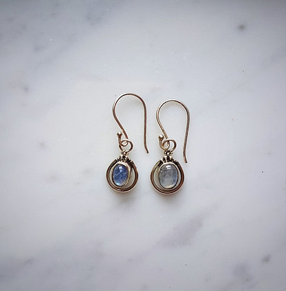 (Style 15) Rainbow Moonstone Drop Earrings in Sterling Silver