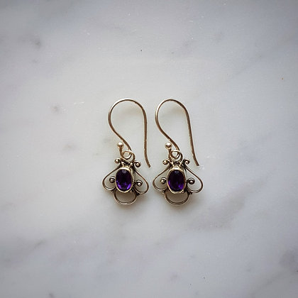 (Style 5) Amethyst Facet Drop Earrings in Sterling Silver