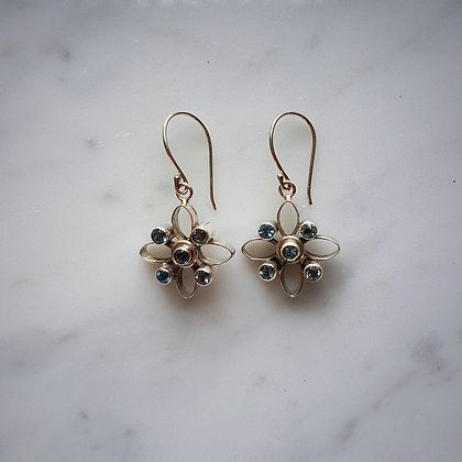 (Style 6) Blue Topaz Drop Earrings in Sterling Silver