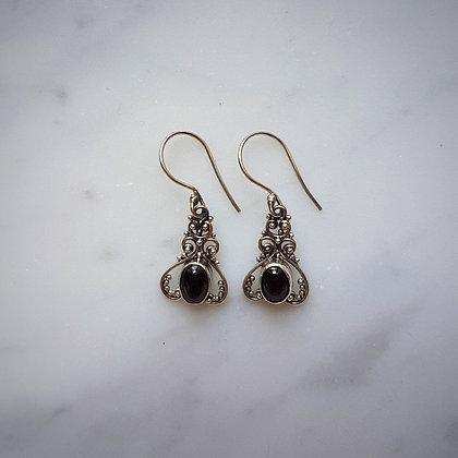 (Style 2) Garnet Cabochon Drop Earrings in Sterling Silver