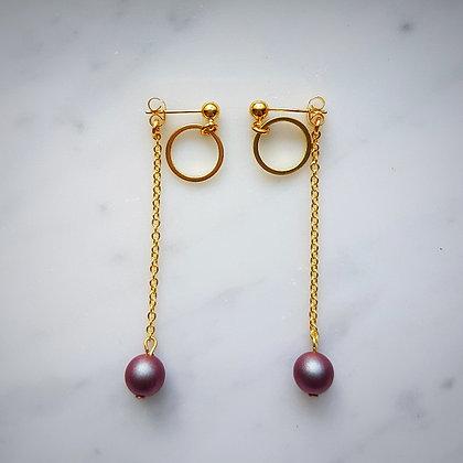 Pearl Drop (Iridescent Red) Hoop Stud Earrings in Gold
