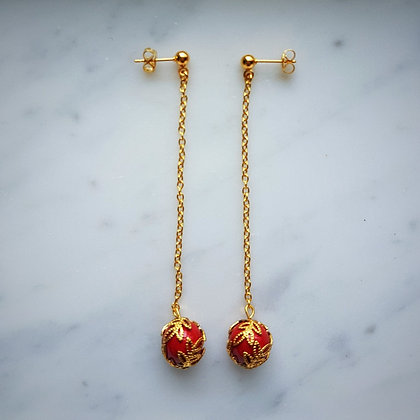 Pearl Drop (with gold chain) Stud Earrings in Red Coral