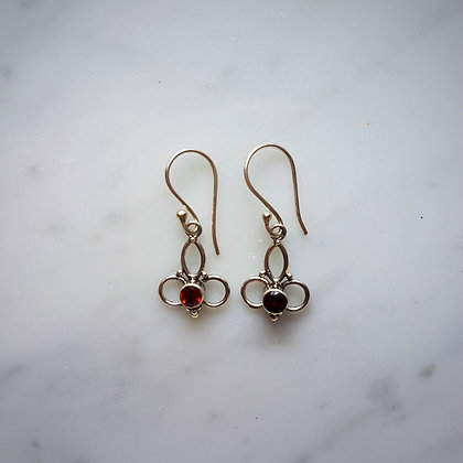 (Style 8) Garnet Facet Drop Earrings in Sterling Silver