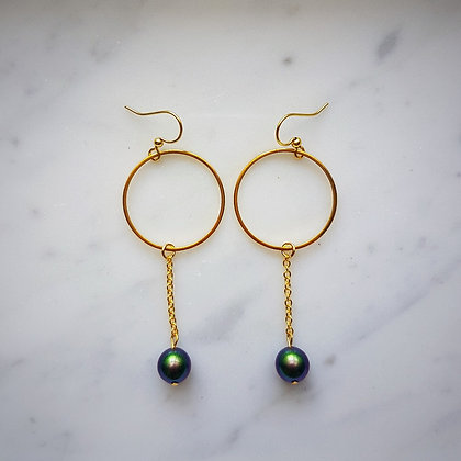 Pearl Drop (Scarabaeus Green) Hoop Hook Earrings in Gold