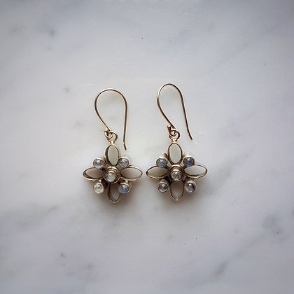 (Style 6) Moonstone Drop Earrings in Sterling Silver