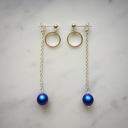Pearl Drop (Iridescent Dark Blue) Hoop Stud Earrings in Silver