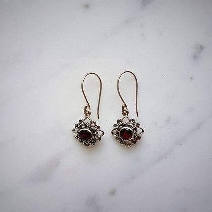 (Style 11) Garnet Facet Drop Earrings in Sterling Silver