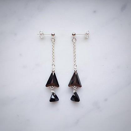 Double Arrow Crystals Drop Earrings in Silver