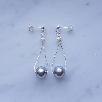 Pearl Drop (Grey) Dangling Stud Earrings in Silver