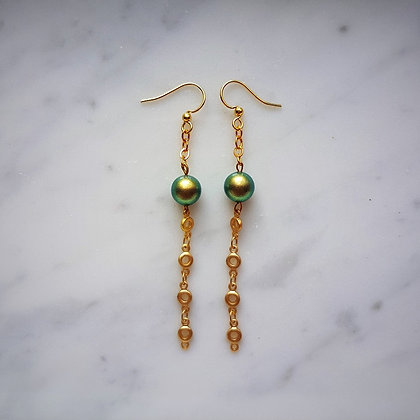 Pearl Drop (with gold chain) Hook Earrings in Iridescent Green