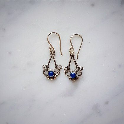 (Style 13) Blue Agatha Drop Earrings in Sterling Silver