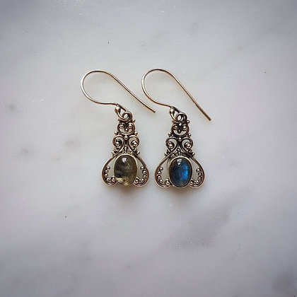 (Style 2) Labradorite Drop Earrings in Sterling Silver