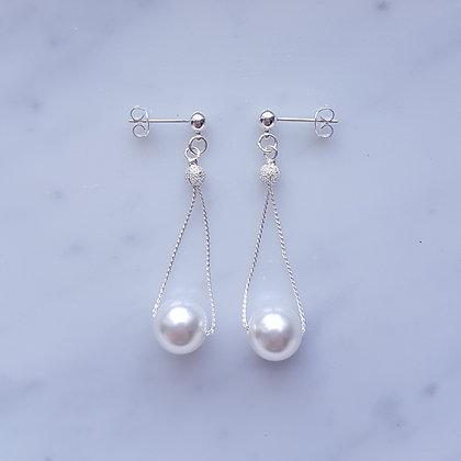 Pearl Drop (White) Dangling Stud Earrings in Silver