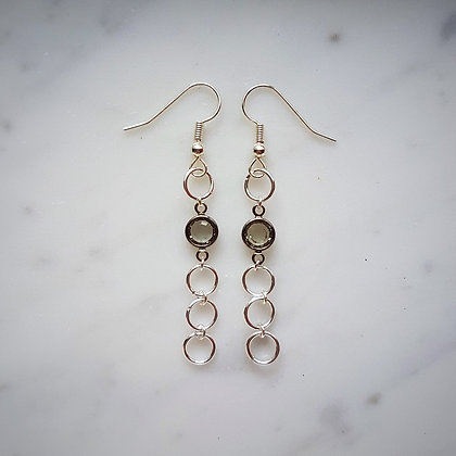 Hoop and Crystal Hook Earrings in Silver